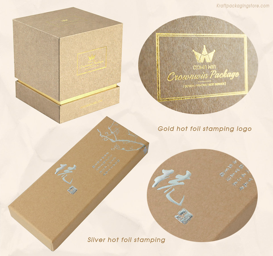 Rigid top and bottom kraft gift box with hot foil stamping logo