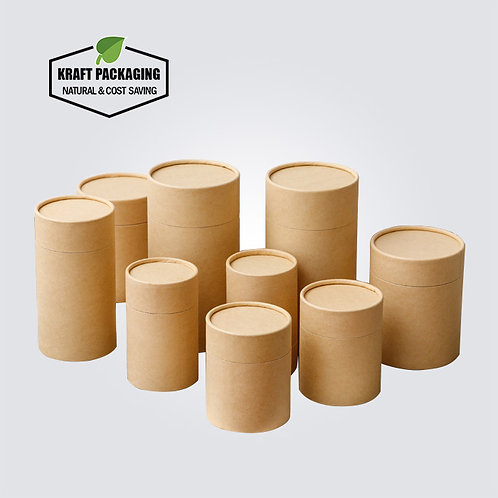 Brown Kraft tube with brown inside and unroll edge inner neck