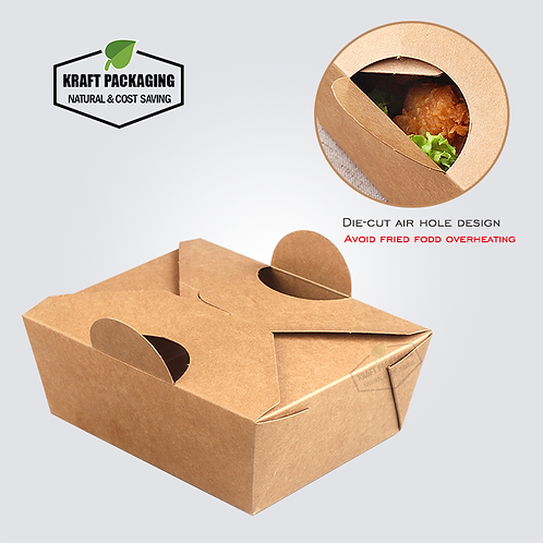 Greaseproof disposable Kraft paper fried food take out boxes with air hole