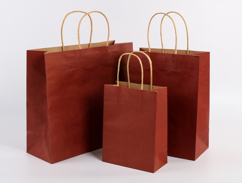 Red color kraft paper bags with handle