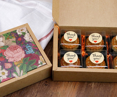 Color flower printed Kraft paper gift boxes for cakes gift packaging