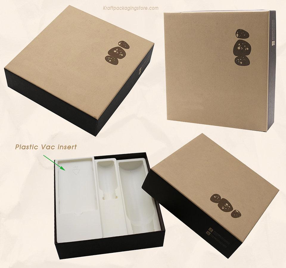 Rigid Kraft lift-off lid gift boxes with plastic vac insert