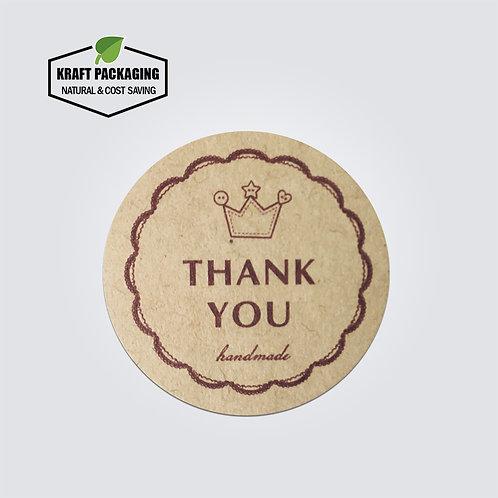 Kraft paper handmade Thank You crown printed round sticker label