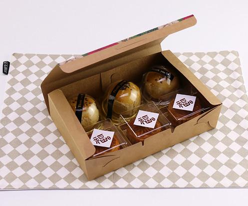 Full color printed Kraft paper egg yolk puff dessert packing boxes