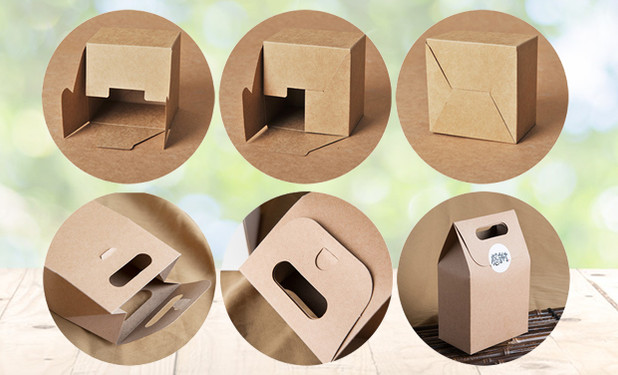 How to fold up small Kraft paper boxes with handle