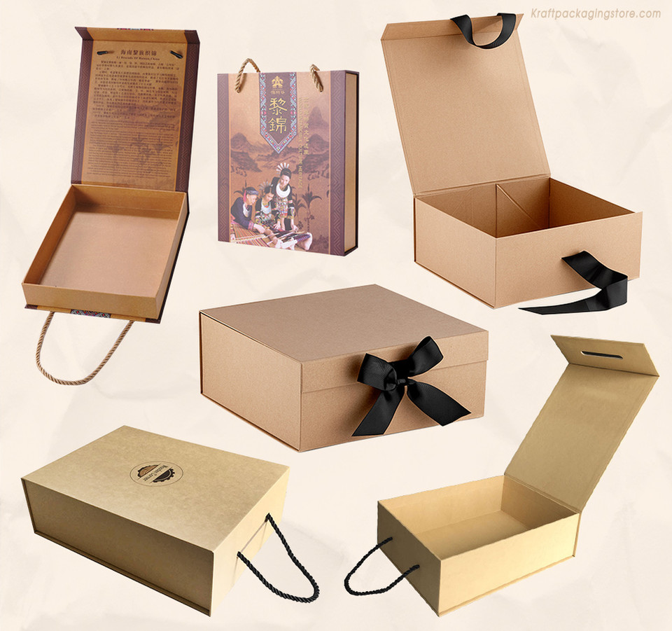 Custom gift boxes with magnetic lids and ribbon rope closure