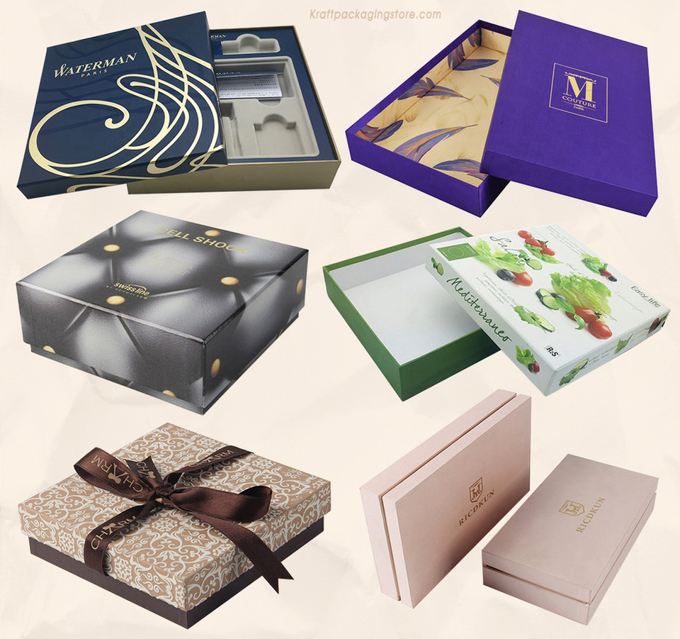 Full color printed white rigid setup telescoping gift boxes