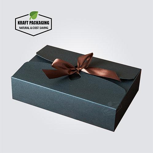 Silk ribbon decorated BLACK Kraft paper flat pack boxes wholesale