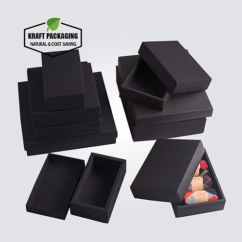 Black Kraft boxes with lid has a wide border on bottom base