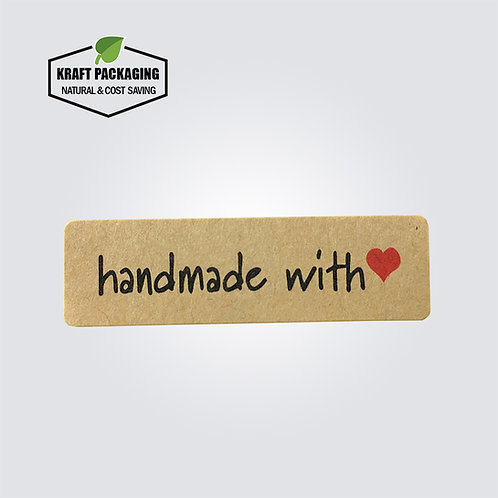 Kraft hand made with red heart label sticker for box bag packaging