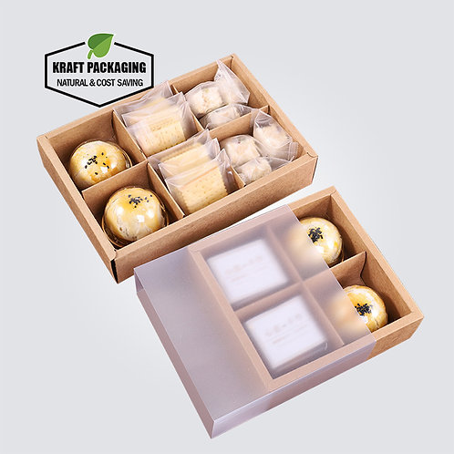 Frosted PVC sleeve sliding paper drawer boxes with divider insert