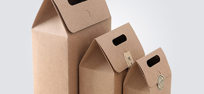Brown Kraft Paper Favor Gift Boxes with Handle Tea Packaging