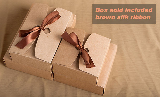 Silk ribbon attached brown kraft flat pack gift boxes