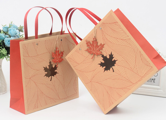 Luxury printed kraft paper gift bags with flat paper handle and clear window