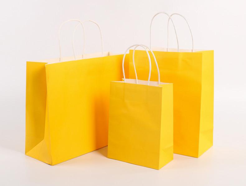 Yellow color kraft paper bags