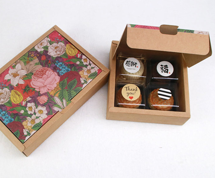 2-piece flip top style printed Kraft paper gift boxes for cakes