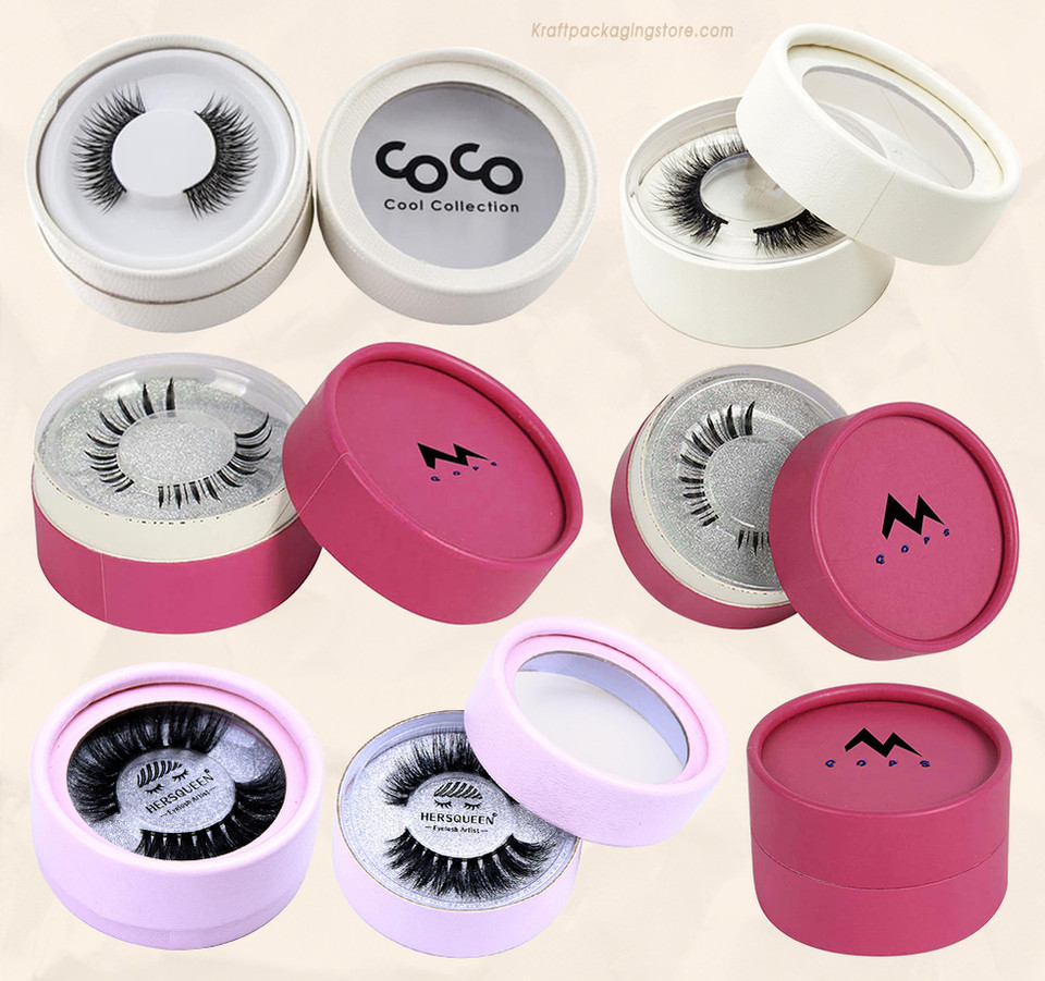 Cosmetic eyelash packaging tube boxes