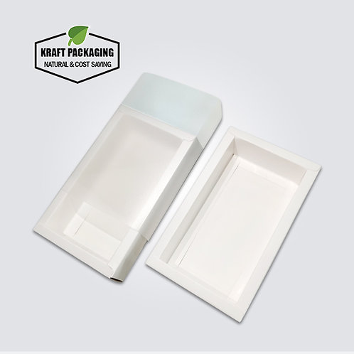 Ivory White Paper Slide Drawer Box Packaging in Frosted PVC Sleeve