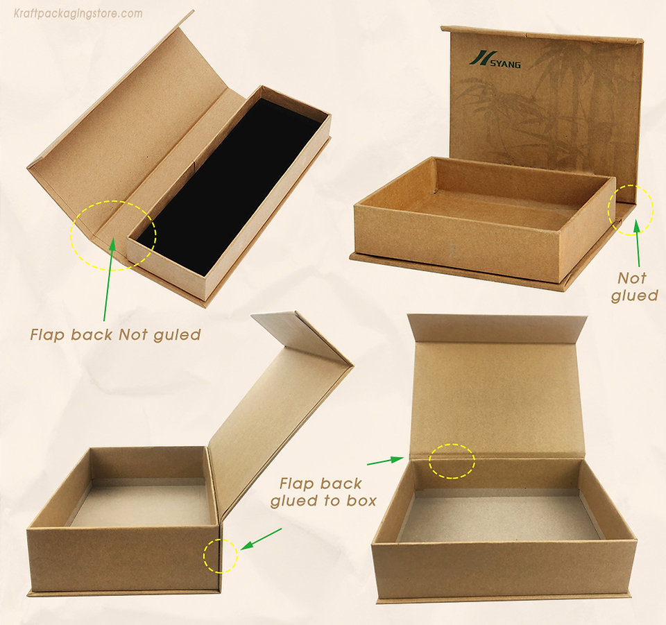 Custom magnet boxes with flap glued and not glued two types