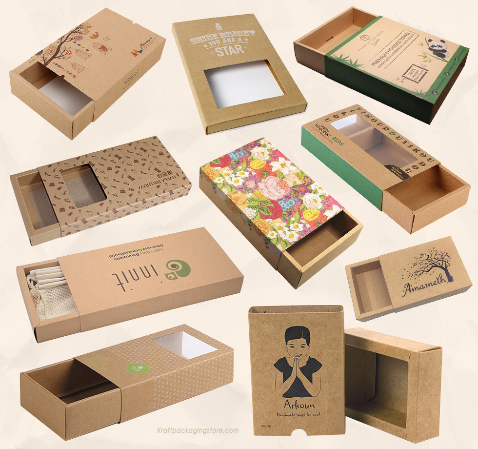 Custom printed Kraft drawer boxes wholesale store