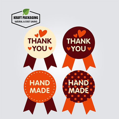 Badge shaped printed handmade and thank you adhesive sticker labels
