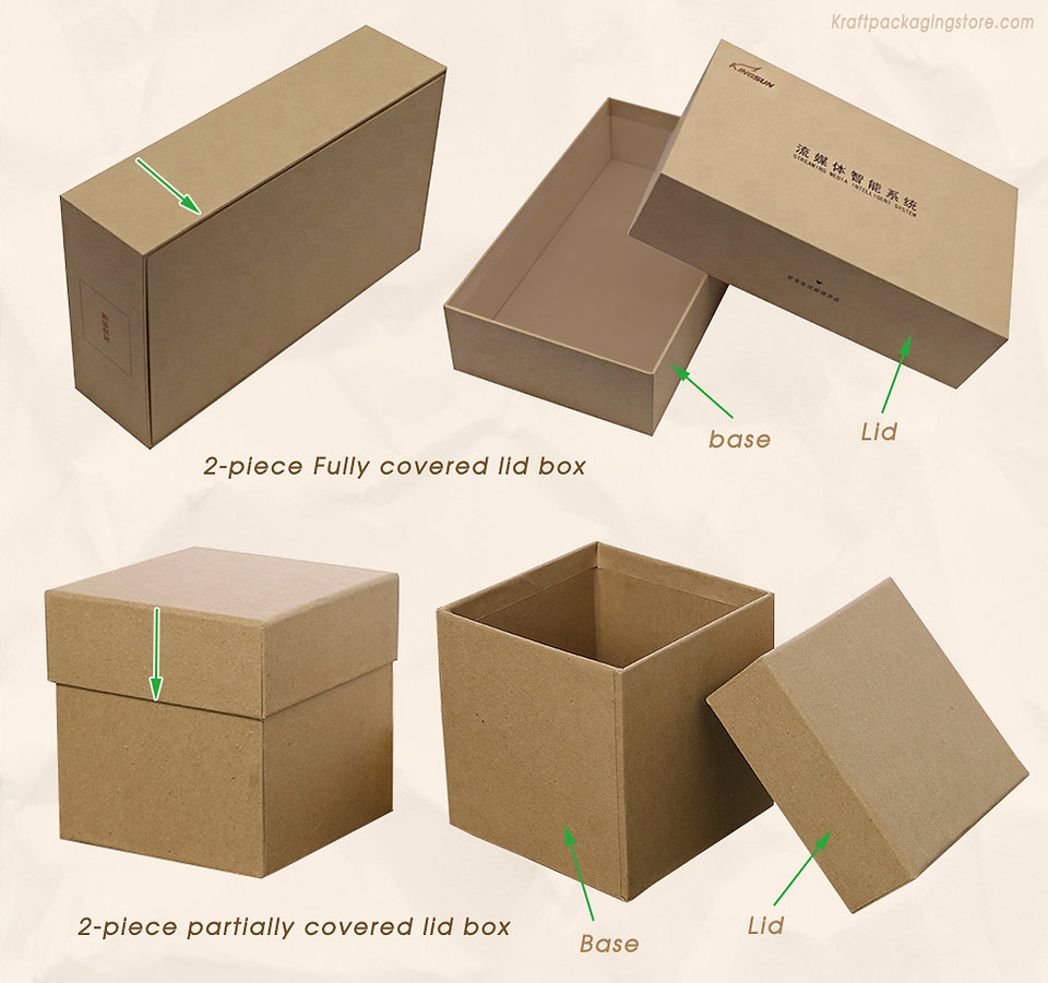 2 types lid cover of 2-piece rigid telescopic boxes