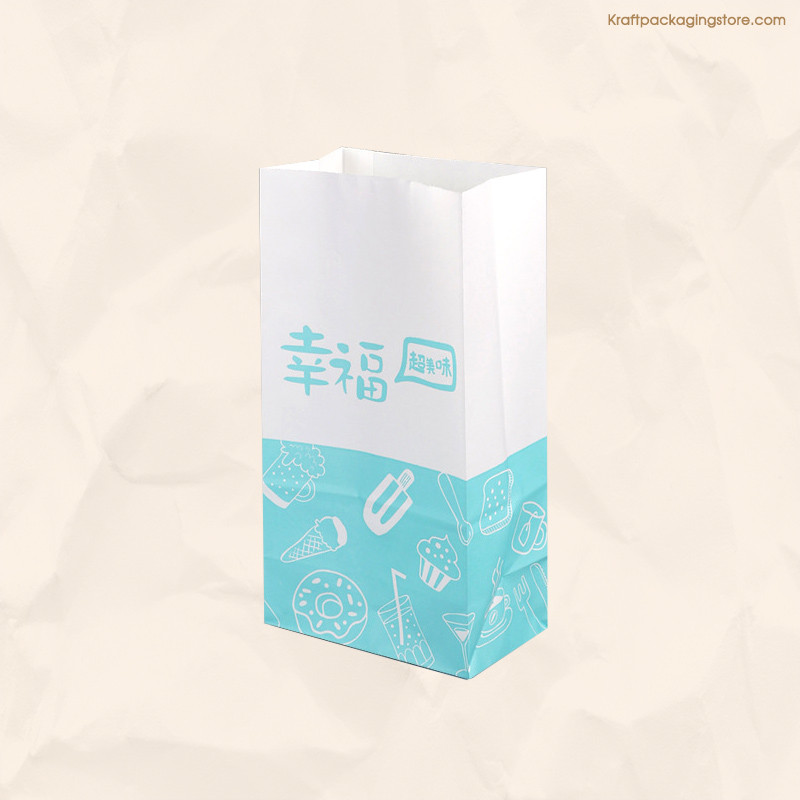 Custom one color printed white grocery paper bags