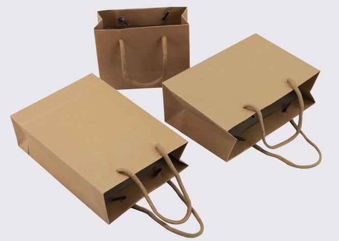 Rope handle brown paper gift bags