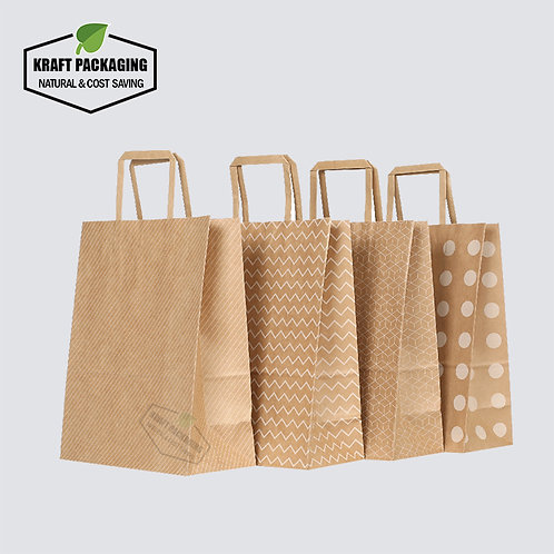 Brown Kraft gift bags printed in white and black color with flat paper handles