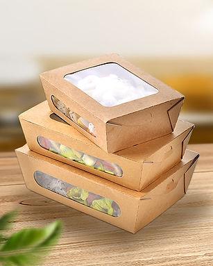 Kraft paper salad box with clear window