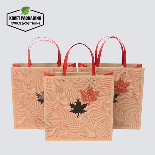 Red printed flat paper handle Kraft gift bags with window, Maple hangtag