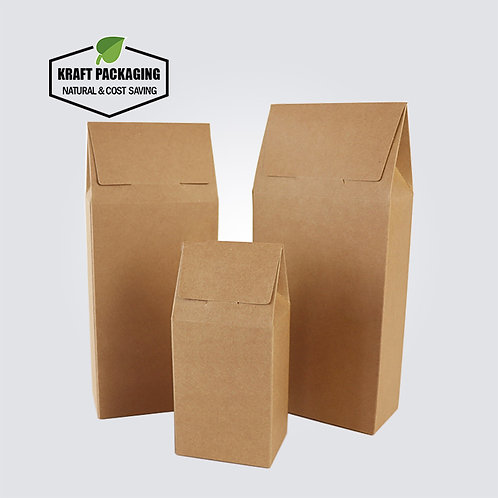 Triangle Top Closure Brown Kraft Folding Boxes for Tea Packaging