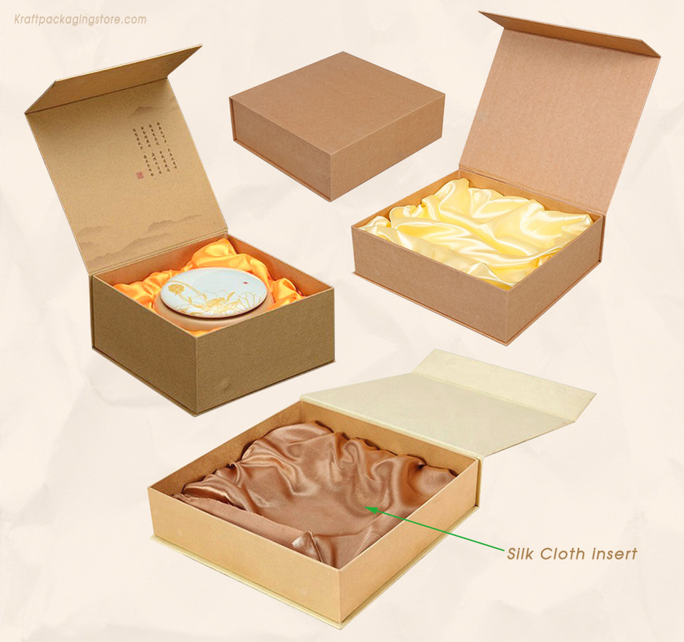 Customize Rigid Kraft flip lid magnetic closure box with silk cloth insert
