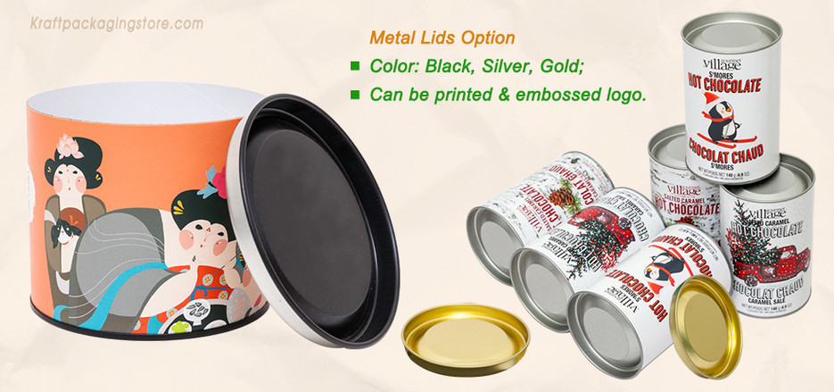 Cardboard tube packaging with metal lids