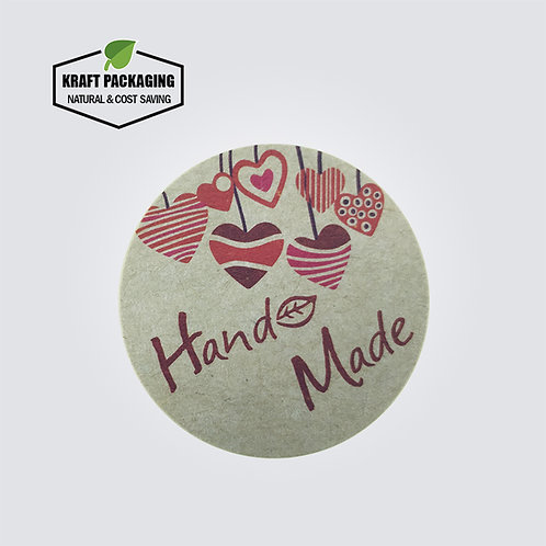 Kraft paper round Hand Made text sticker with colorful hearts printed labels