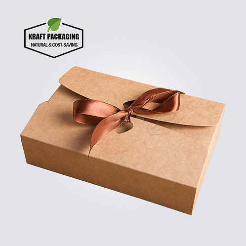 Silk ribbon closure BROWN Kraft paper flat pack gift boxes wholesale