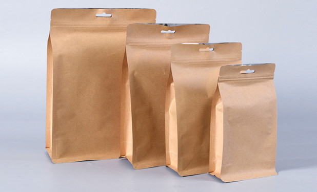 Aluminum foil inside eight side stand Kraft paper pouch bags