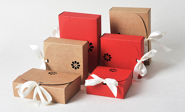 2 color and 4 sizes Kraft favor boxes