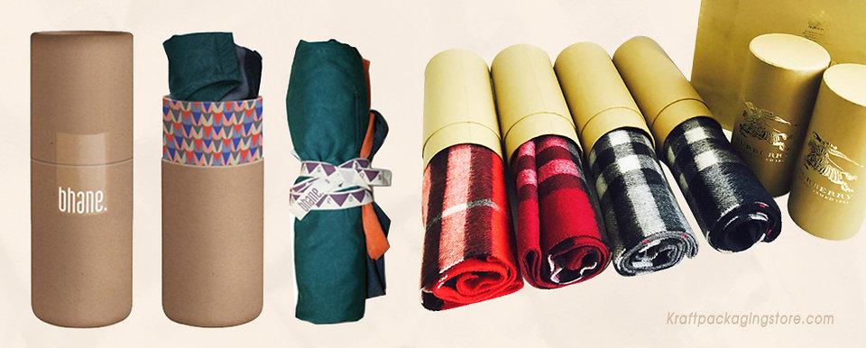 Custom Kraft paper tube packaging for T-shirt, scarf