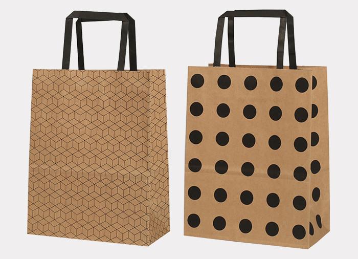 Kraft black pattern printed paper gift bags with flat paper handles