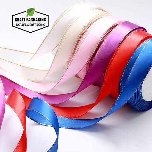 20mm Width Color silk ribbon with gold edge for packaging decoration