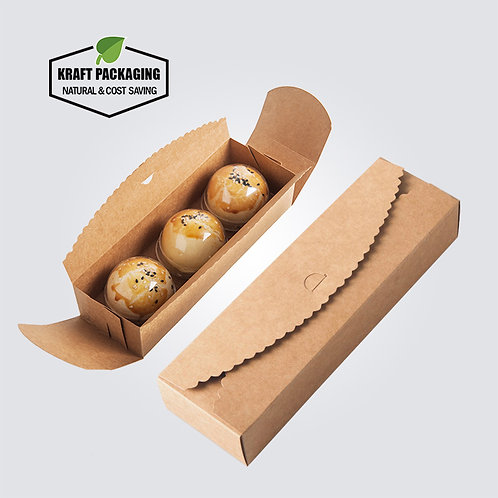 Laciness edge cut long and square Kraft paper box favor packaging