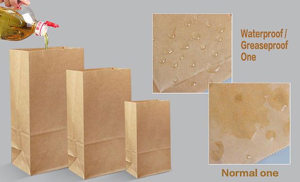 Water grease proof Kraft paper bakery food bags