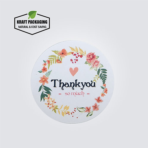 Colorful flower printed thank you so much white round sticker label