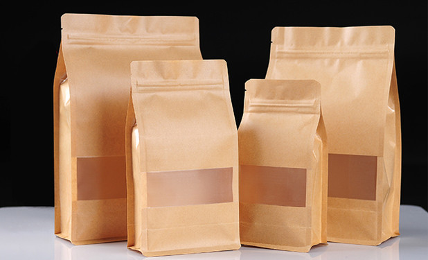 Side gusset stand up brown pouches in 6 sizes