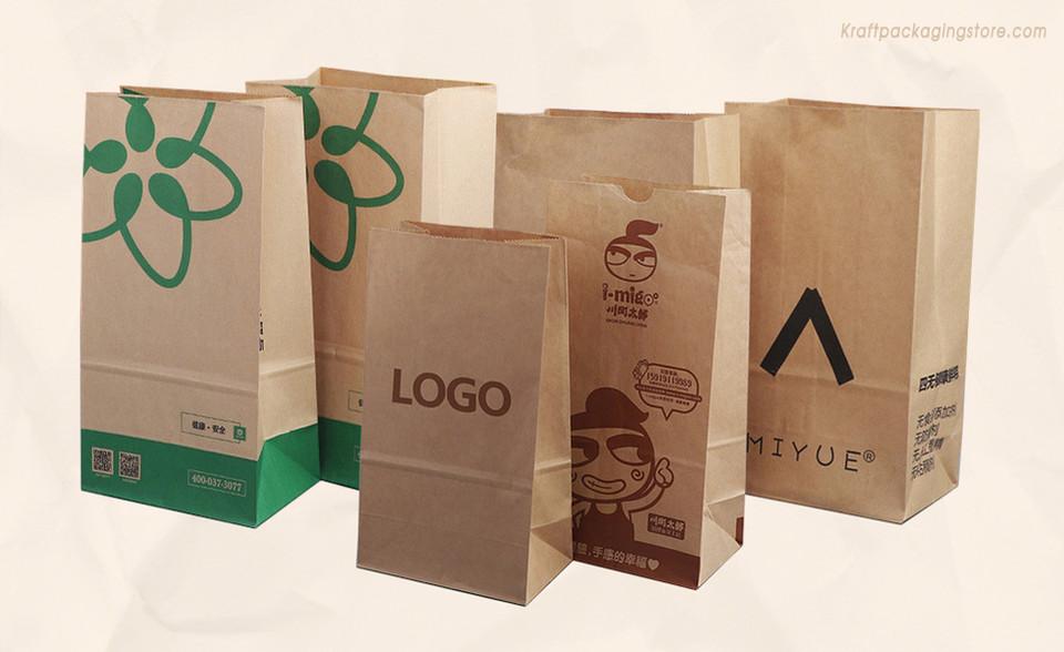 Custom printed kraft paper grocery bags