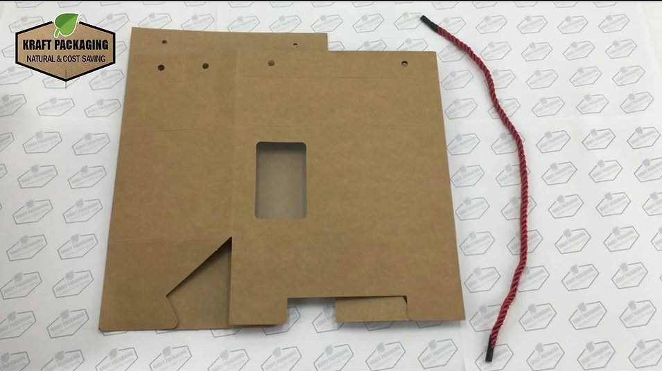 Learn how to fold Kraft paper candy gift box with window and rope handle