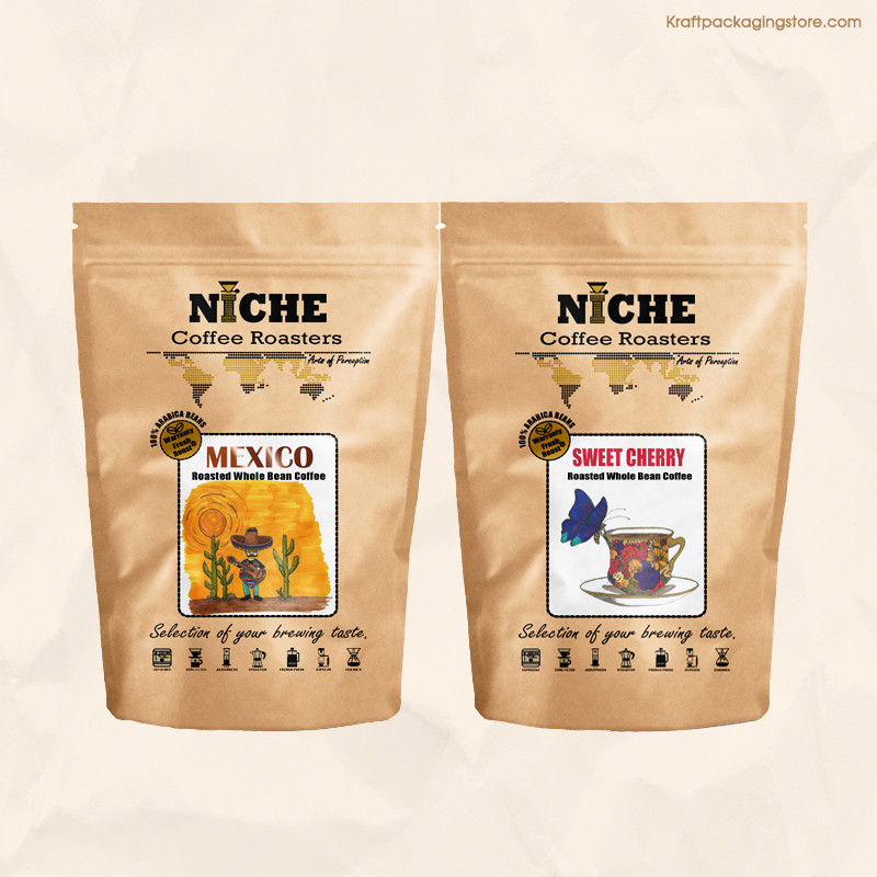 Full color offset printed brown recycled pouch bags