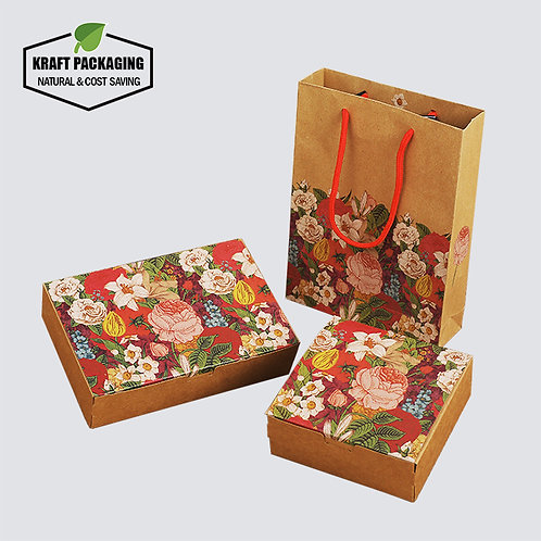Colorful flower printed Brown Kraft paper cake egg yolk puff boxes packaging