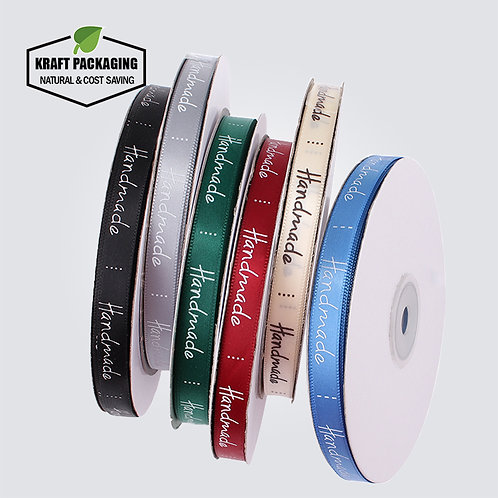 10mm Width Colorful Hand Made text silk ribbon for packaging decoration